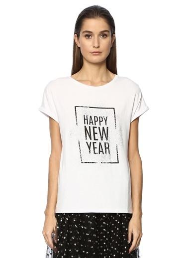 Que Kadın 2014763 Slim Fit Tshirt Beyaz